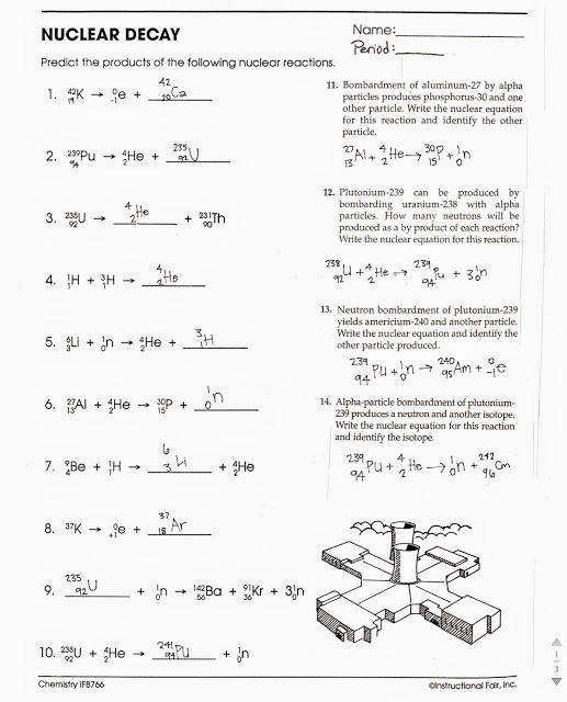 Nuclear Chemistry Worksheet Answer Key Luxury Nuclear Decay Worksheet