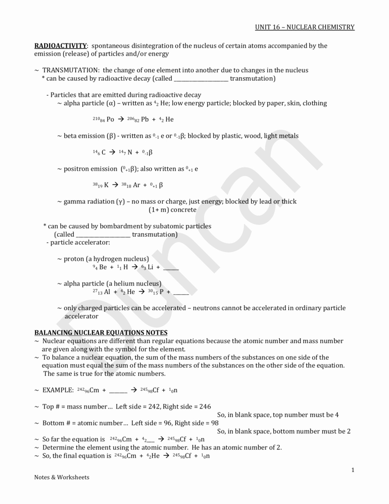 Nuclear Chemistry Worksheet Answer Key New Worksheet Nuclear Chemistry Worksheet Worksheet Fun