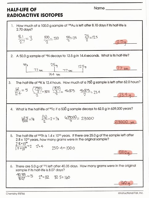 Nuclear Chemistry Worksheet Answers Beautiful tom Schoderbek Chemistry Nuclear Decay Half Lives Worksheet