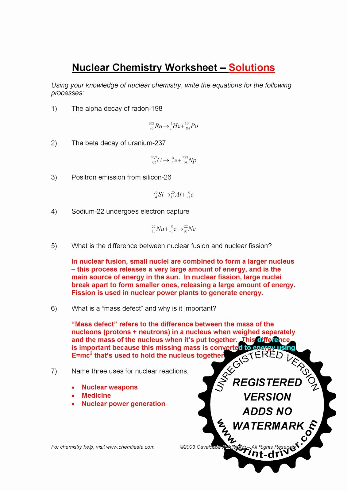 Nuclear Chemistry Worksheet Answers Inspirational Mr Zehner S Chemistry Class November 2010