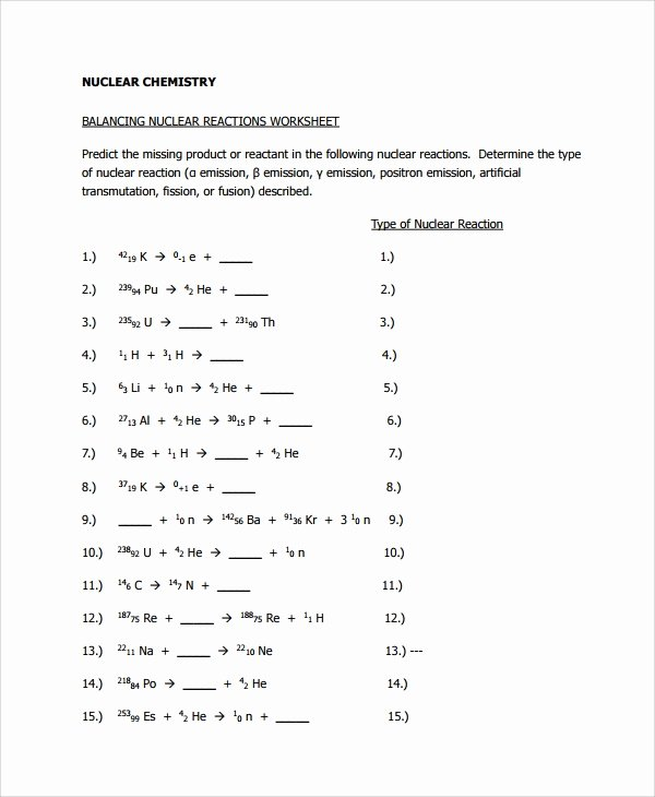 Nuclear Chemistry Worksheet Answers Inspirational Sample Balancing Equations Worksheet Templates 9 Free