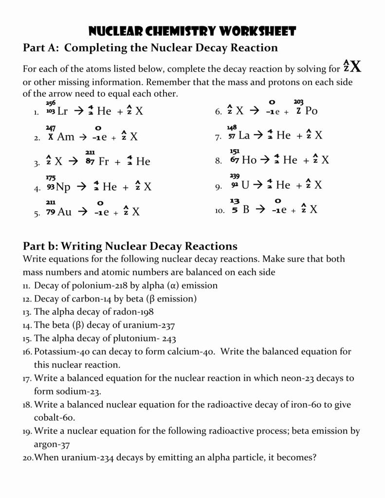 Nuclear Chemistry Worksheet K Lovely Nuclear Chemistry Worksheet