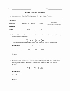 Nuclear Chemistry Worksheet K Luxury Challenge Nuclear Decay Worksheet