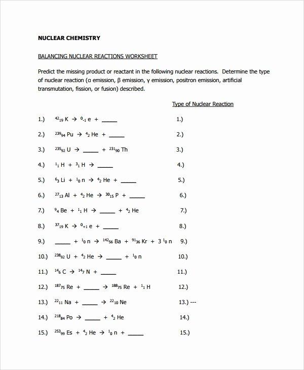 Nuclear Chemistry Worksheet K Luxury Sample Balancing Equations Worksheet Templates 9 Free