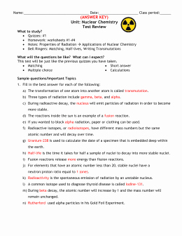 Nuclear Decay Worksheet Answer Key Elegant Nuclear Chemistry Test Review
