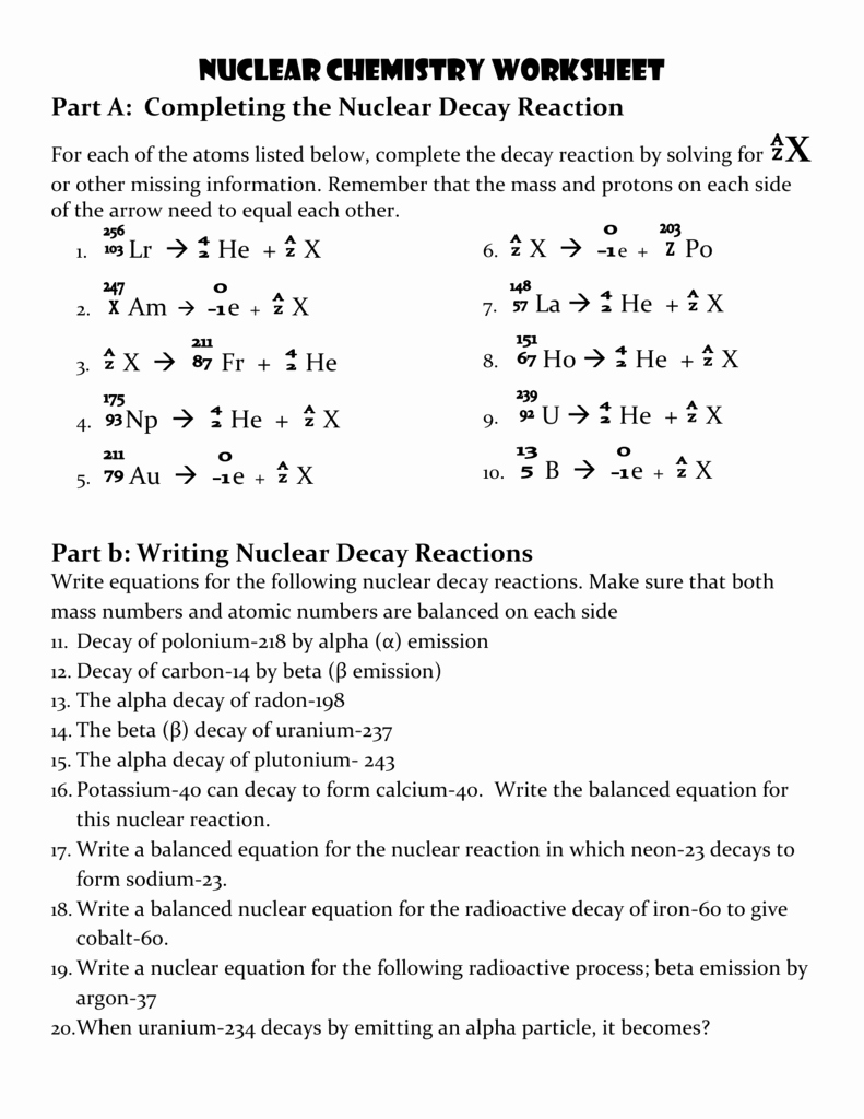 Nuclear Decay Worksheet Answer Key Fresh Uranium 234 Alpha Decay Equation Tessshebaylo