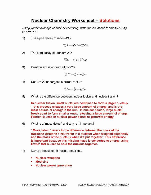 Nuclear Decay Worksheet Answers Chemistry Beautiful Nuclear Decay Worksheet Answers