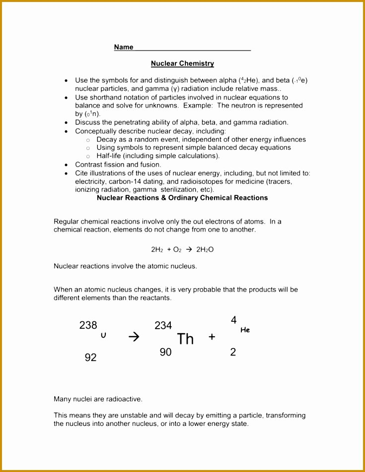Nuclear Decay Worksheet Answers Chemistry Luxury 7 Writing Nuclear Equations Chem Worksheet 4 4 Answers
