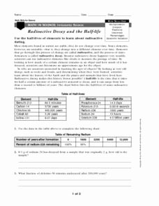 Nuclear Decay Worksheet Answers Key Best Of Math In Science Radioactive Decay and Half Life Worksheet