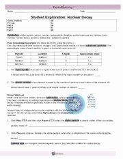 Nuclear Decay Worksheet Answers Key Best Of Nuclear Decay Gizmo Student Work Science 10 Nuclear