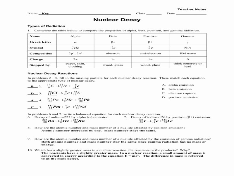 Nuclear Decay Worksheet Answers Key Luxury Worksheet Radioactive Decay Fission Fusion Key Free
