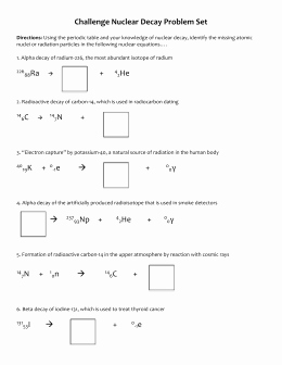 Nuclear Decay Worksheet Answers Key Unique Nuclear Chem Pset 4