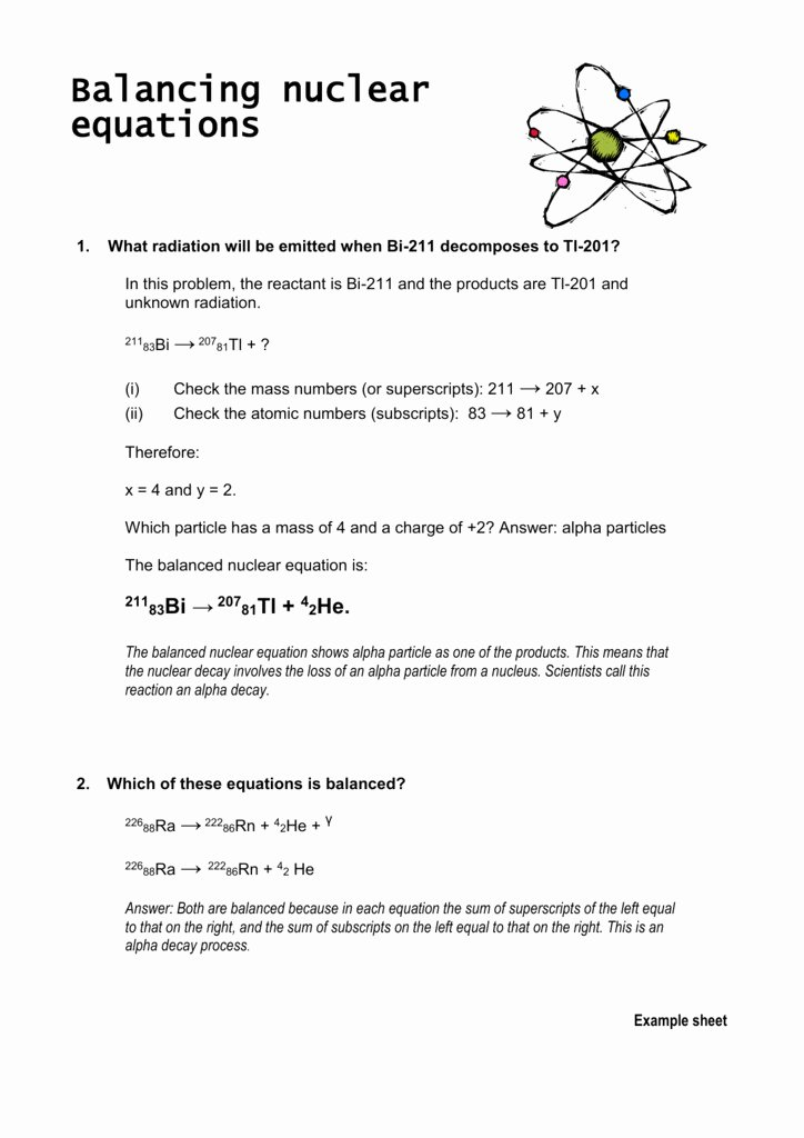 Nuclear Equations Worksheet Answers Fresh Balancing Nuclear Equations Worksheet
