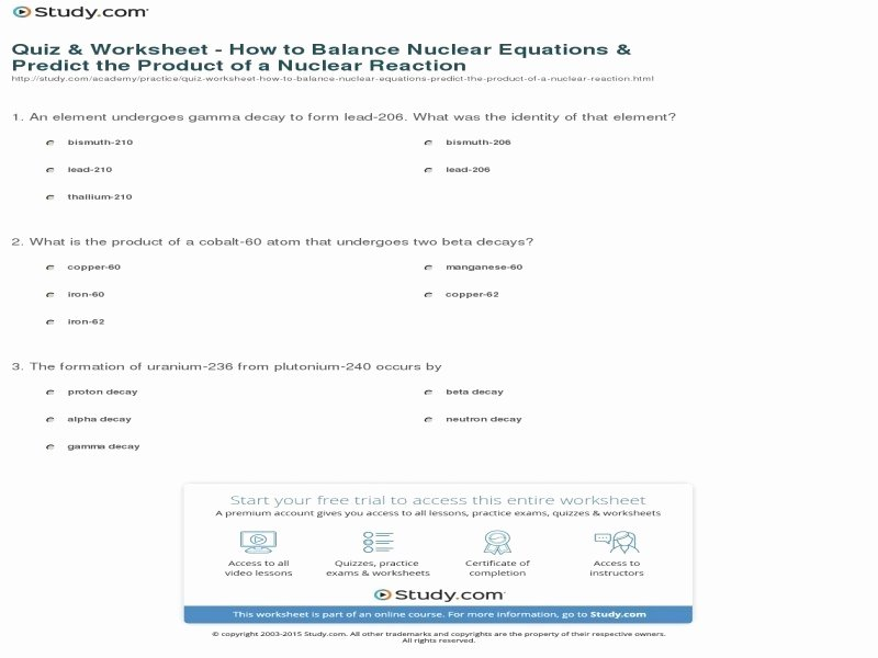 Nuclear Reactions Worksheet Answers Awesome Nuclear Reaction Worksheet Answers Free Printable Worksheets