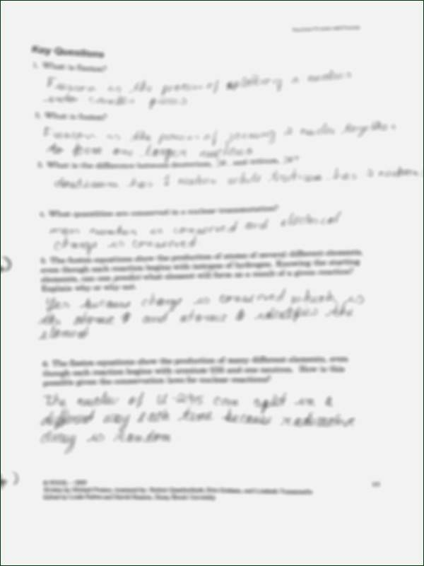 Nuclear Reactions Worksheet Answers Beautiful Nuclear Reaction Worksheet