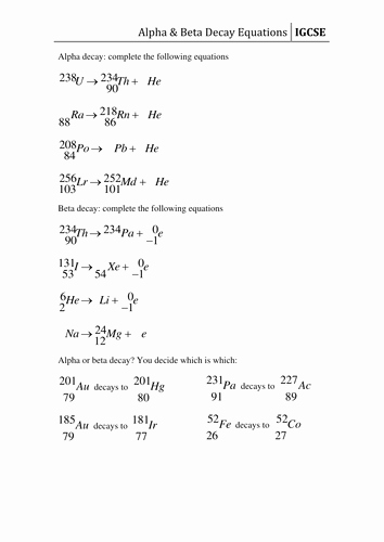 Nuclear Reactions Worksheet Answers Luxury Worksheet Decay Equations by Csnewin
