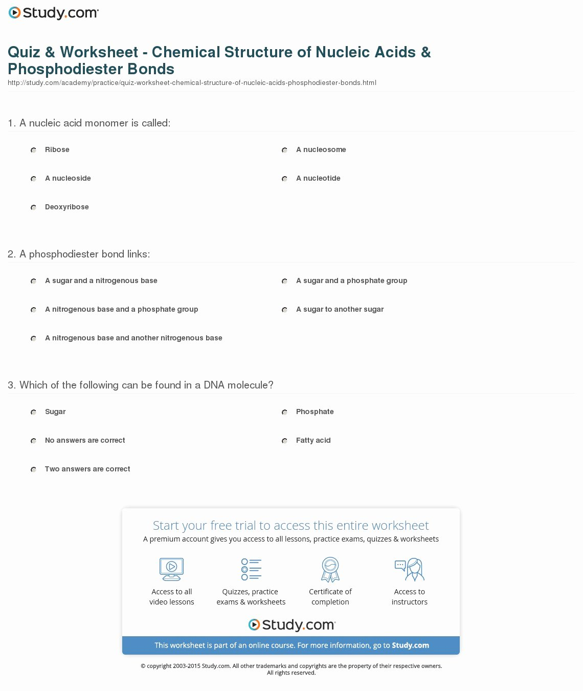 Nucleic Acid Worksheet Answers Beautiful Quiz & Worksheet Chemical Structure Of Nucleic Acids