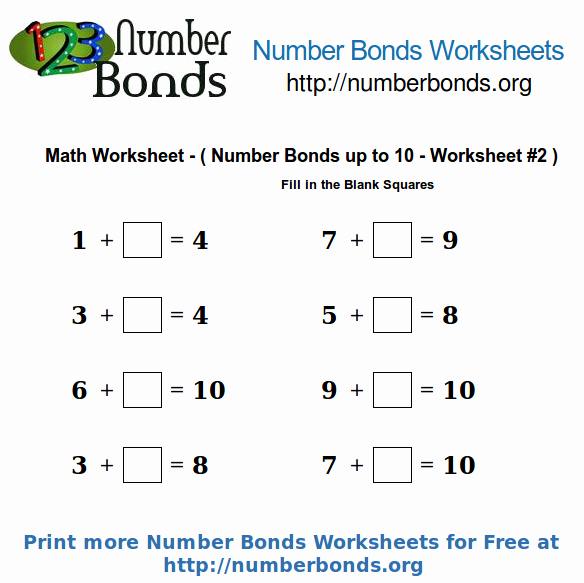 Number Bonds to 10 Worksheet Best Of Number Bonds Math Worksheet Up to 10 Worksheet 2
