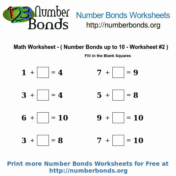 Number Bonds to 10 Worksheet Best Of Number Bonds Math Worksheet Up to 10 Worksheet 2