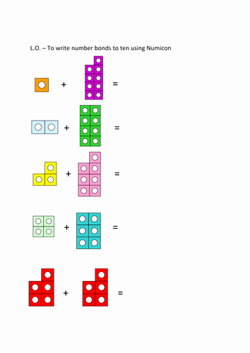 Number Bonds to 10 Worksheet Best Of Number Bonds to 10 Numicon Worksheet by Sammybusted