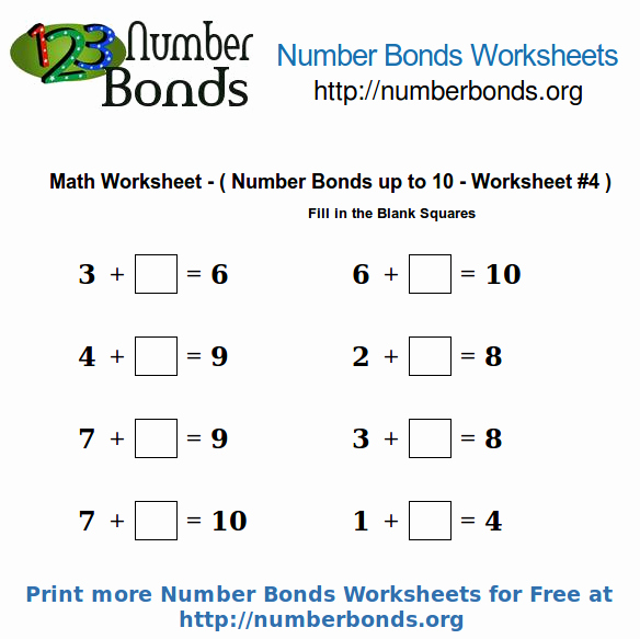 Number Bonds to 10 Worksheet Elegant Number Bonds Math Worksheet Up to 10 Worksheet 4
