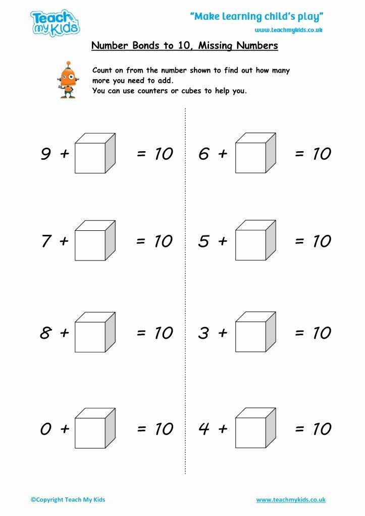 Number Bonds to 10 Worksheet Fresh Addition & Subtraction Workbook 1 5 7 Years Tmk Education