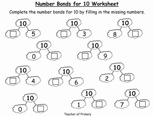 Number Bonds to 10 Worksheet Inspirational Number Bonds to 10 Worksheet Homework Number Bonds to 10
