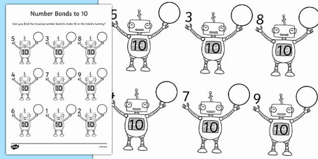 Number Bonds to 10 Worksheet Lovely Number Bonds to 10 Robots Worksheet Maths Resource Twinkl