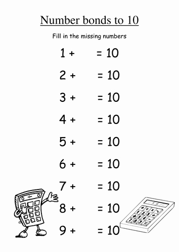 Number Bonds to 10 Worksheet Luxury Number Bonds to 10 Fill In Missing Numbers by Groov E