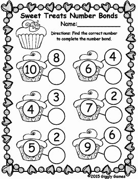 Number Bonds to 10 Worksheet Luxury Sweet Treats Number Bonds Worksheet by Giggly Games