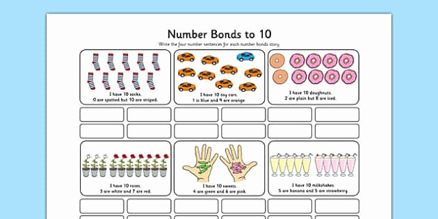 Number Bonds to 10 Worksheet New Number Bonds to 10 Stories Worksheet Number Bonds 10
