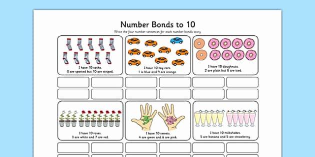 Number Bonds to 10 Worksheet New Number Bonds to 10 Stories Worksheet Number Bonds 10