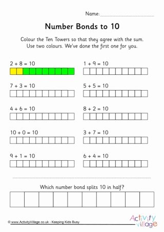 Number Bonds to 10 Worksheet New Number Bonds Up to 10