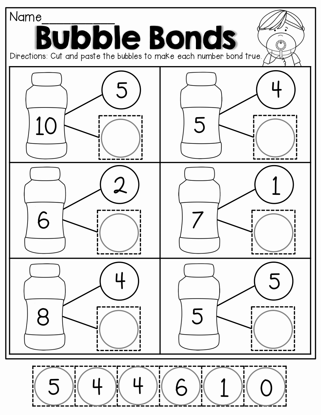 Number Bonds to 10 Worksheet New Number Bubble Bonds Cut and Paste