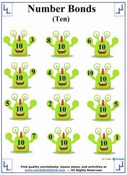 Number Bonds to 10 Worksheet Unique Number Bonds to 10 Addition Worksheets