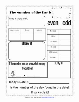 Number Of the Day Worksheet Best Of Number Of the Day Worksheet Free by Teaching Heart Colleen