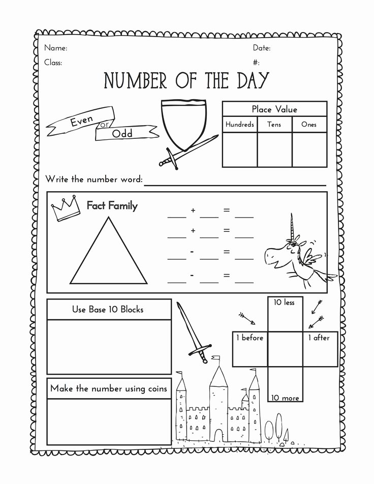 Number Of the Day Worksheet Best Of Second Grade Number Of the Day Worksheet