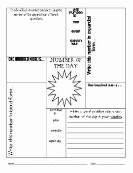 Number Of the Day Worksheet Elegant Here S A Number Of the Day form for Older Students some
