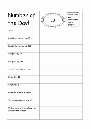 Number Of the Day Worksheet Elegant Number Of the Day by Aimeequicks Teaching Resources Tes