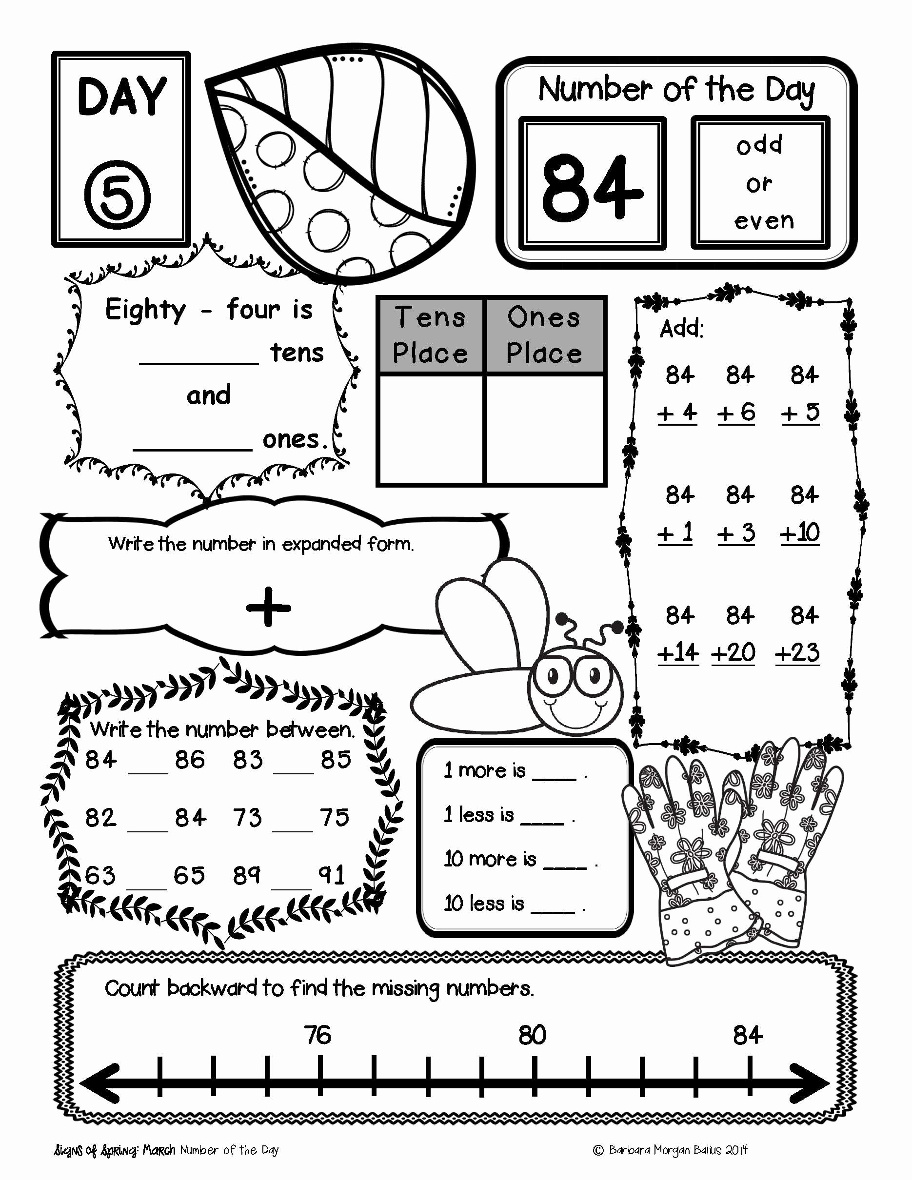 Number Of the Day Worksheet Elegant Place Value Number Sense First Grade Math Number Of the