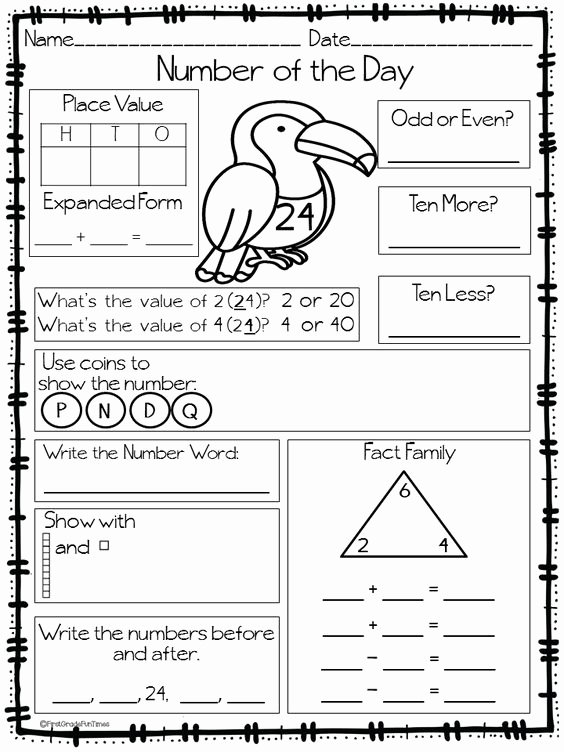 Number Of the Day Worksheet Fresh Morning Work Number Of the Day Back to School Ideas