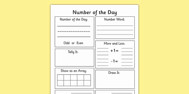 Number Of the Day Worksheet Fresh Number Of the Day Worksheet Number Display Maths Numeracy