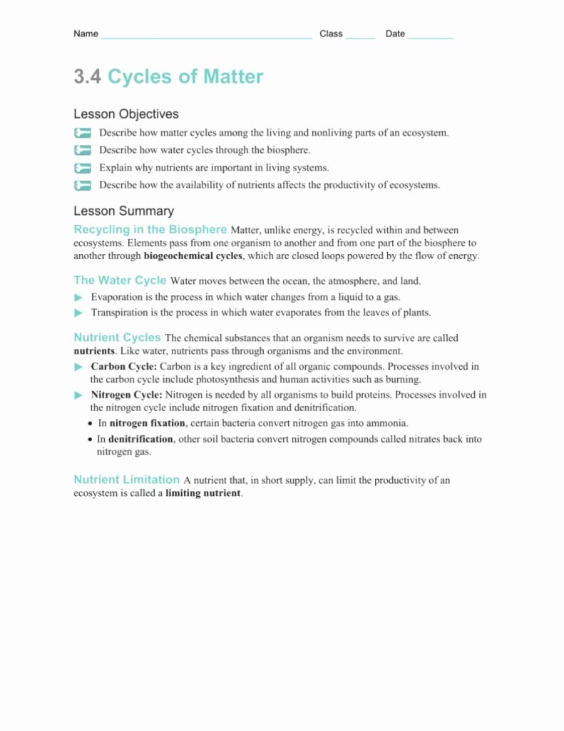Nutrient Cycles Worksheet Answers Luxury the Latest Template Of Section Worksheetdified W