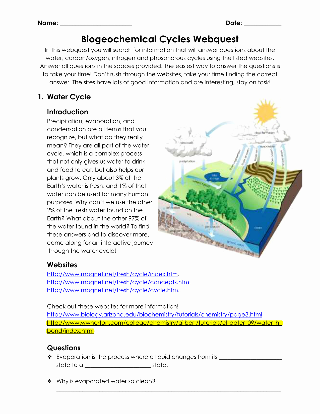 Nutrient Cycles Worksheet Answers Unique Water Carbon and Nitrogen Cycle Worksheet Color Sheet