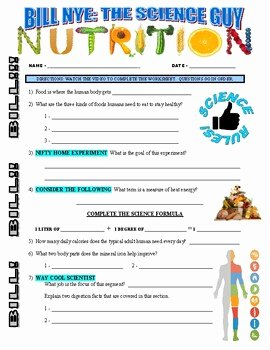 Nutrition Label Worksheet Answer Awesome Bill Nye the Science Guy Nutrition Video Worksheet and