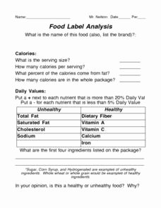 Nutrition Label Worksheet Answer Best Of Food Label Analysis Worksheet for 5th 9th Grade