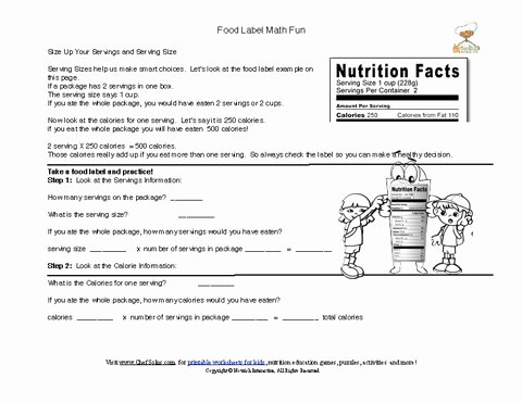 Nutrition Label Worksheet Answer Elegant Printable Food Labels Serving Size Math Putation