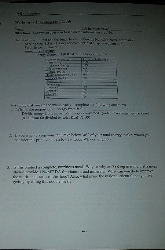Nutrition Label Worksheet Answer Elegant solved Unit 4 Nutrition Worksheet 4 2 Reading Food Labe