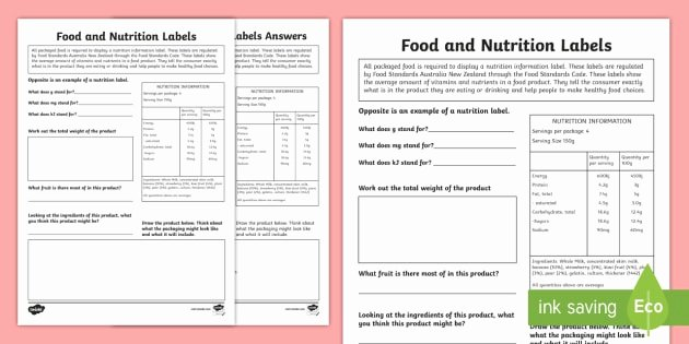 Nutrition Label Worksheet Answer Fresh Nutrition Label Worksheet Answer Key