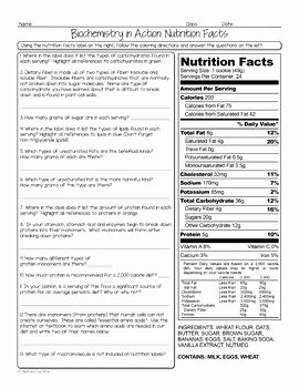 Nutrition Label Worksheet Answer Key Awesome Nutrition Facts Biology Homework Worksheet by Science with
